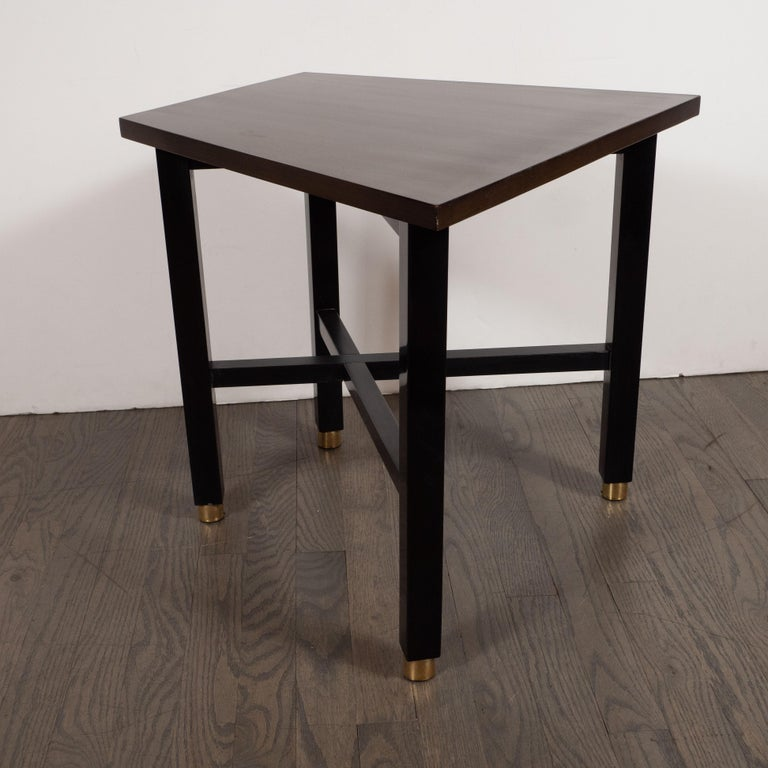 Mid-Century Modern Trapezoidal Walnut Side Table with Brass Sabots by Dunbar For Sale 1