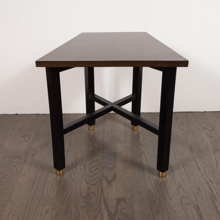 Mid-Century Modern Trapezoidal Walnut Side Table with Brass Sabots by Dunbar For Sale 2