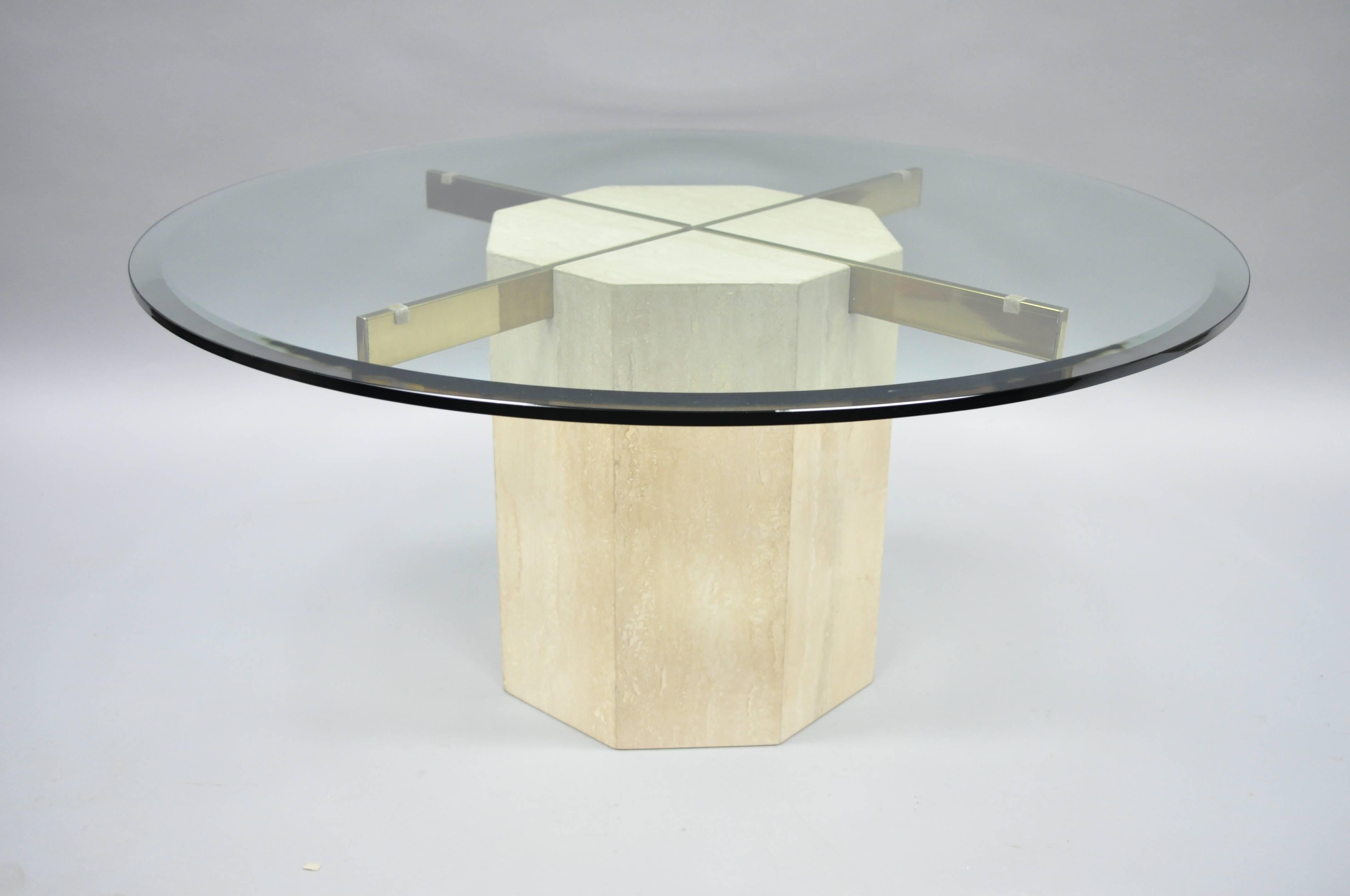 Mid Century Modern Travertine And Brass Round Glass Top Coffee Table By  Artedi For Sale