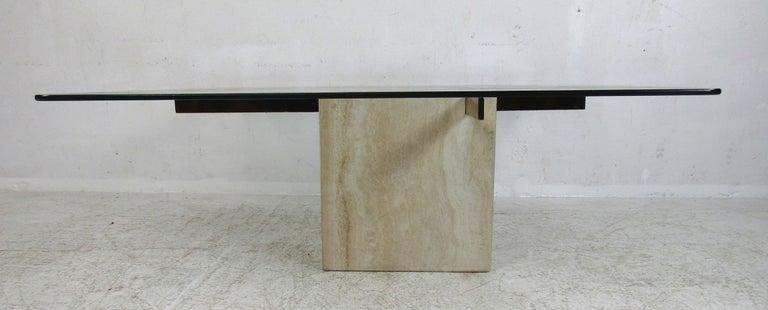 Italian Mid-Century Modern Travertine Coffee Table by Artedi For Sale