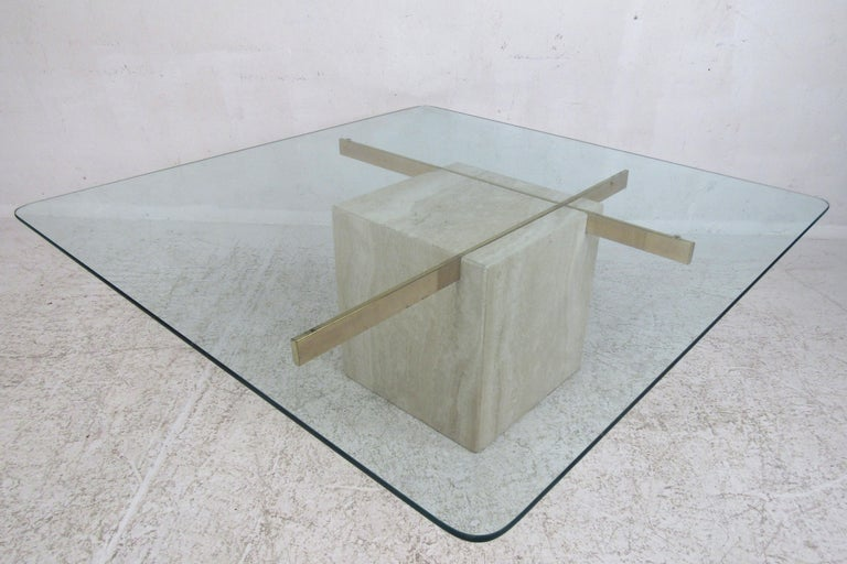 Mid-Century Modern Travertine Coffee Table by Artedi In Good Condition For Sale In Brooklyn, NY