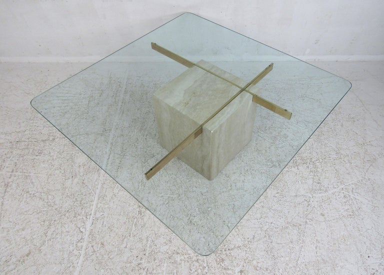 Late 20th Century Mid-Century Modern Travertine Coffee Table by Artedi For Sale