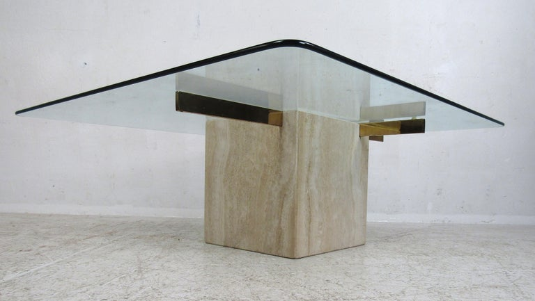 Glass Mid-Century Modern Travertine Coffee Table by Artedi For Sale