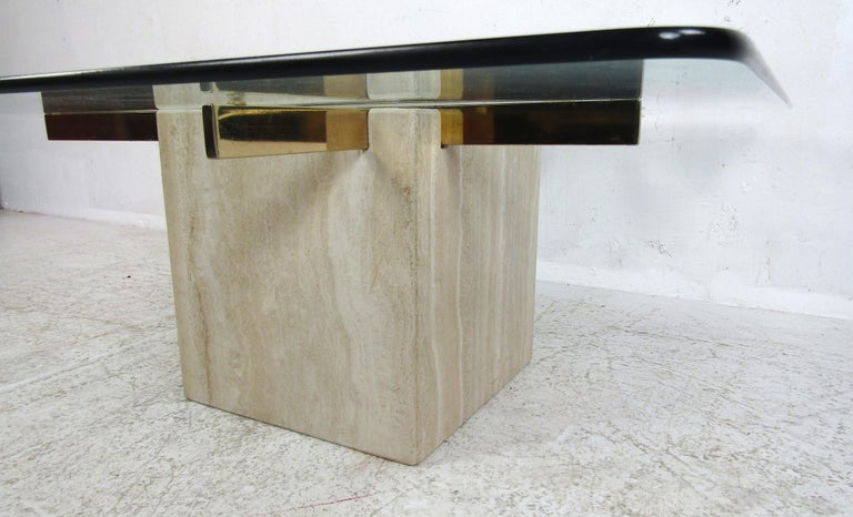 Mid-Century Modern Travertine Coffee Table by Artedi For Sale 2