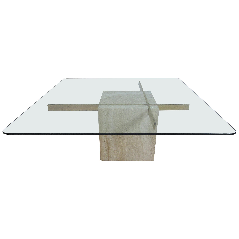 Mid-Century Modern Travertine Coffee Table by Artedi