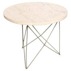 Mid-Century Modern Travertine Side Table Eiffel Tower Base