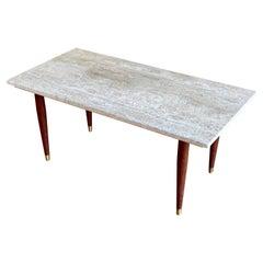 Mid-Century Modern Travertine & Walnut Legs Small Coffee Table