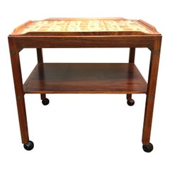 Mid-Century Modern Tray Table in Rosewood with Inlaid Tiles by Royal Copenhagen