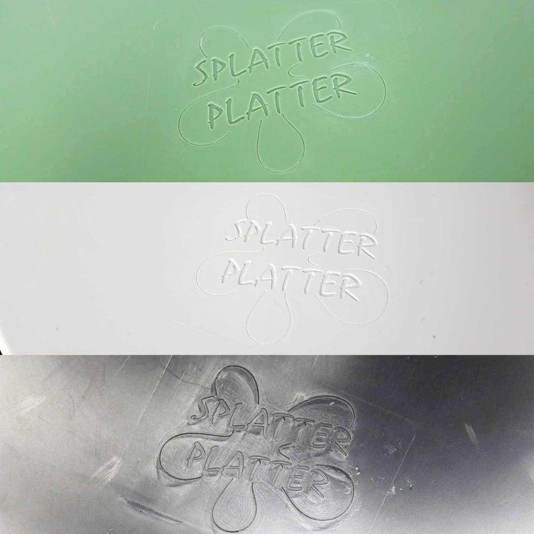 Mid-Century Modern Trays Green Black White Round Plastic Sabe's Splatter Platter 7