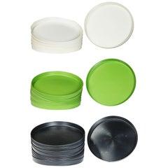 Mid-Century Modern Trays Green Black White Round Plastic Sabe's Splatter Platter