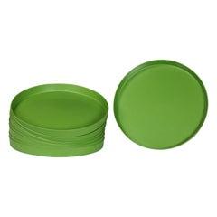 Mid-Century Modern Trays Round Green Plastic Splatter Platters by Sabe's