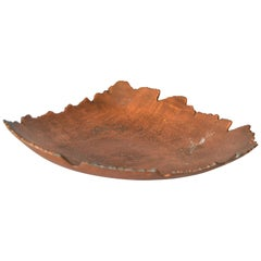 Mid-Century Modern Tree Leaf Shaped Footed Bowl in Bronze, Centerpiece