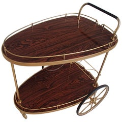 Mid-Century Modern Triangle Trolley Brass and Formica Wood