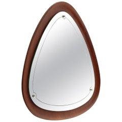 Mid-Century Modern Triangolar Plywood Frame Mirror, 1960s