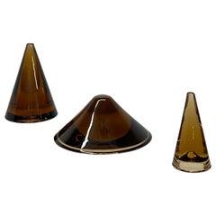 Mid-Century Modern Trio of Amber Glass Cones