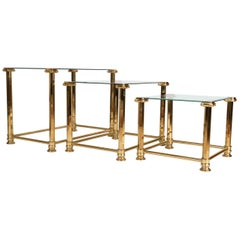 Mid-Century Modern Trio of Gold Gilt and Glass Side Tables. Orsenigo, Italy