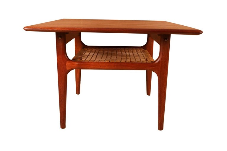 Woven Mid-Century Modern Trioh Danish Teak End Table For Sale