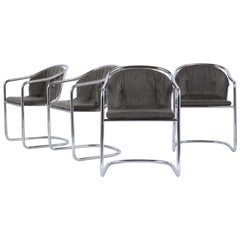 Mid-Century Modern Tubular Chrome Dining Chairs