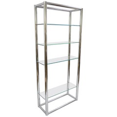 Mid-Century Modern Tubular Chrome Étagère Bookcase Glass Shelf Baughman Style