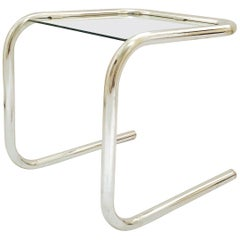 Mid-Century Modern Tubular Chrome Side Table in the Style of Thonet, 1960s
