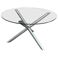 Mid-Century Modern Tubular Chrome X Base Dining Table with Round Glass Top