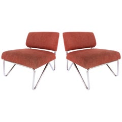 Mid-Century Modern Stainless Steel Slipper Chairs