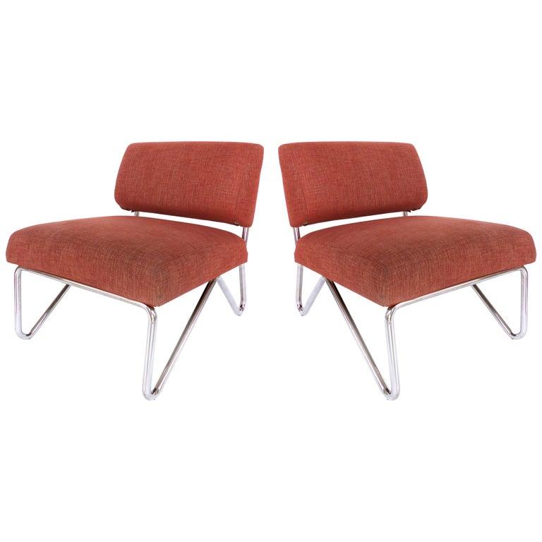 Wondrous Mid Century Modern Stainless Steel Slipper Chairs Theyellowbook Wood Chair Design Ideas Theyellowbookinfo
