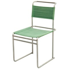 Mid-Century Modern Tubular Steel Chair with Green Fabric