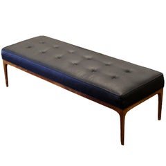 Mid-Century Modern Tufted Black Vinyl and Teak Wood Bench Seat