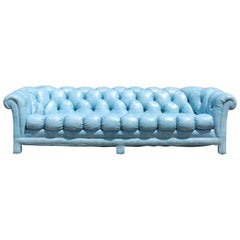 Mid-Century Modern Tufted Blue Leather Chesterfield Classic Sofa, 1970s