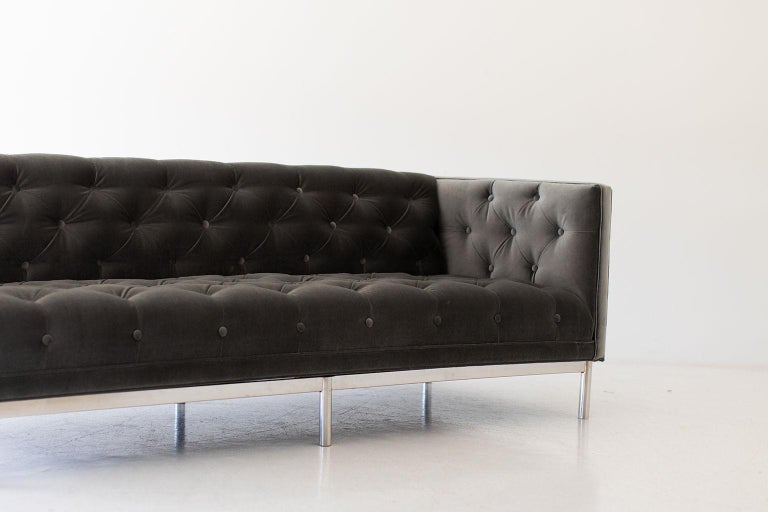 Designer: Unknown (attributed to Jack Cartwright for Founders)  Manufacturer: Unknown. Period or model: Mid-Century Modern. Specs: Chrome, velvet.  Condition:  This Mid-Century Modern tufted sofa is in very good restored condition. The sofa