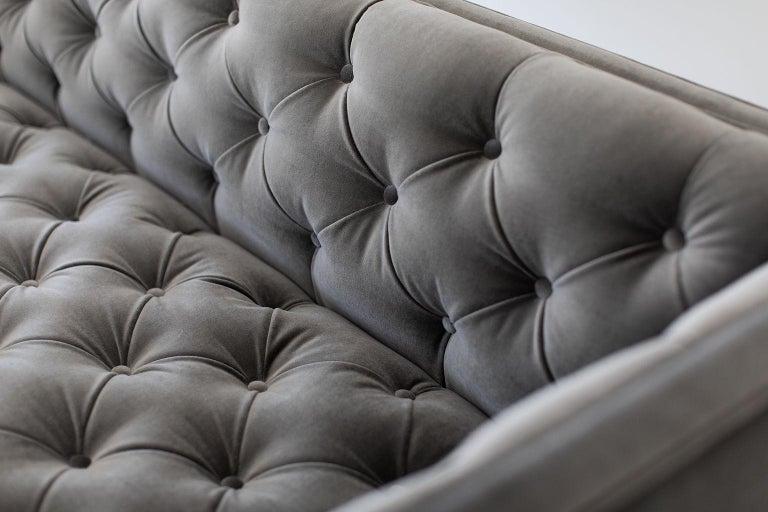 Velvet Mid-Century Modern Tufted Sofa For Sale