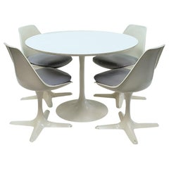 Mid-Century Modern Tulip Table and Chairs by Burke