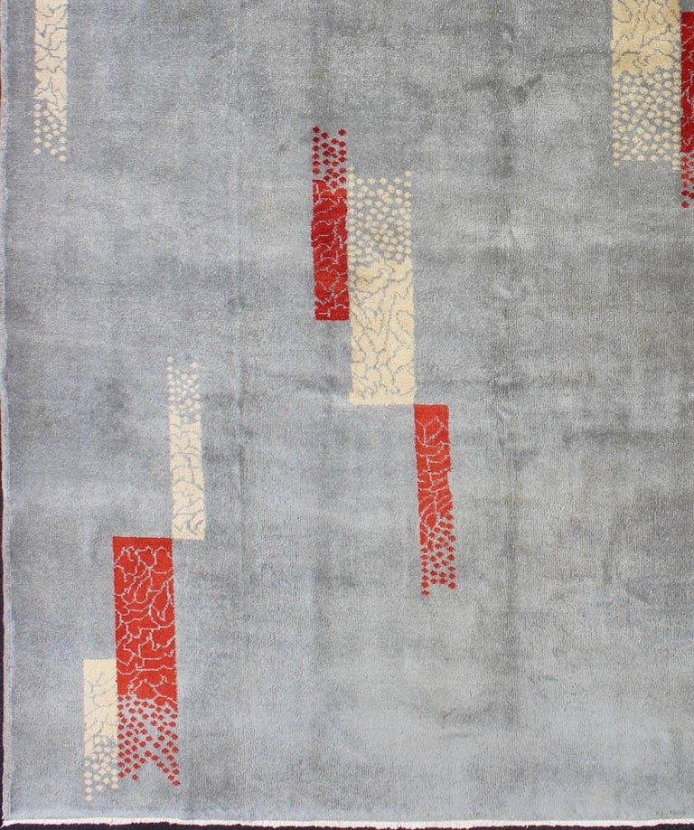 Mid Century Modern Turkish Rug With Abstract Design In
