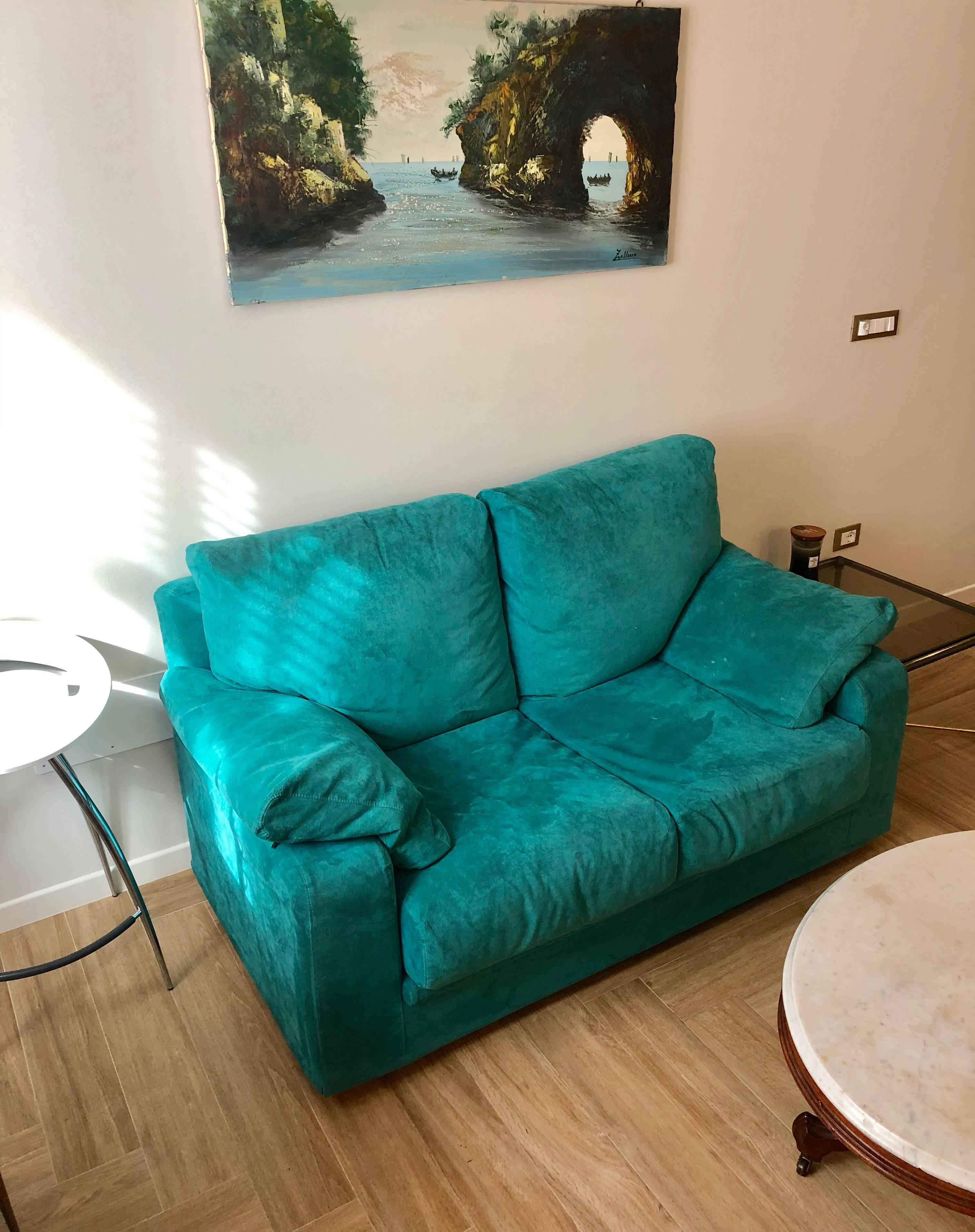 Mid Century Modern Turquoise / Blue Two Seat Velvet Sofa, Italy For Sale
