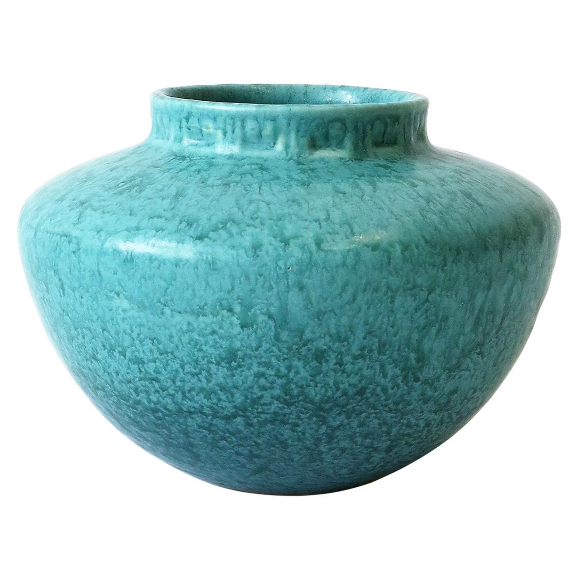 Mid-Century Modern Turquoise Blue Pottery Vase, circa 1960s
