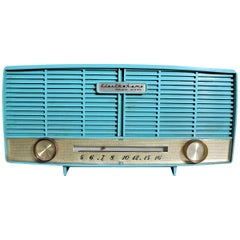 Mid-Century Modern Turquoise Electrohome Roland Series AM Tube Table Radio