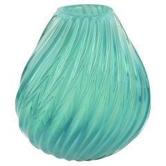 Mid-Century Modern Turquoise or Aquamarine Barovier Styled Ribbed Art Glass Vase