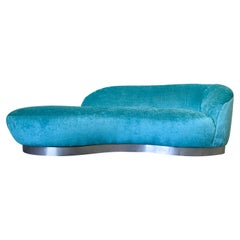 Mid-Century Modern Turquoise Cloud Sofa