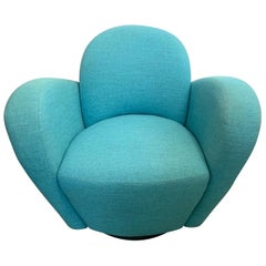 Mid-Century Modern Turquoise Upholstered Swivel Chair Weiman
