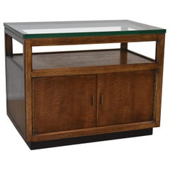 Mid-Century Modern TV Stand / Side Table Thick Glass Top Mixed Wood