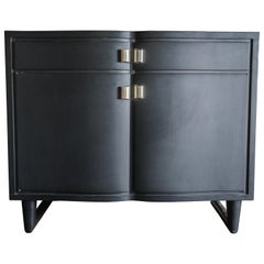 Mid-Century Modern Two-Door Black Buffet, Steel Pulls