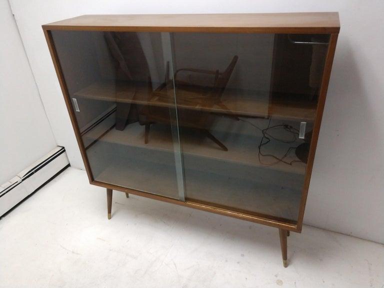 American Mid-Century Modern Two-Door Walnut Bookcase For Sale