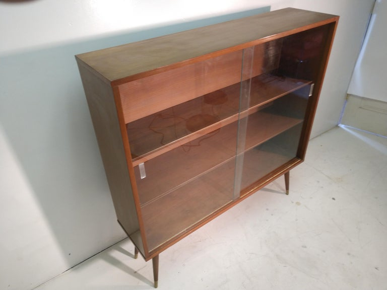Mid-Century Modern Two-Door Walnut Bookcase In Good Condition For Sale In Port Jervis, NY