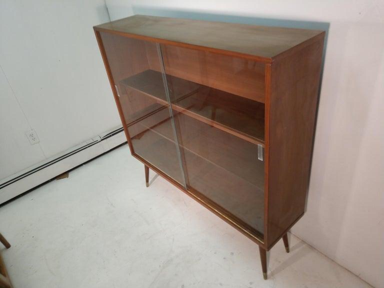 Mid-20th Century Mid-Century Modern Two-Door Walnut Bookcase For Sale