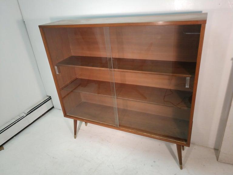 Glass Mid-Century Modern Two-Door Walnut Bookcase For Sale