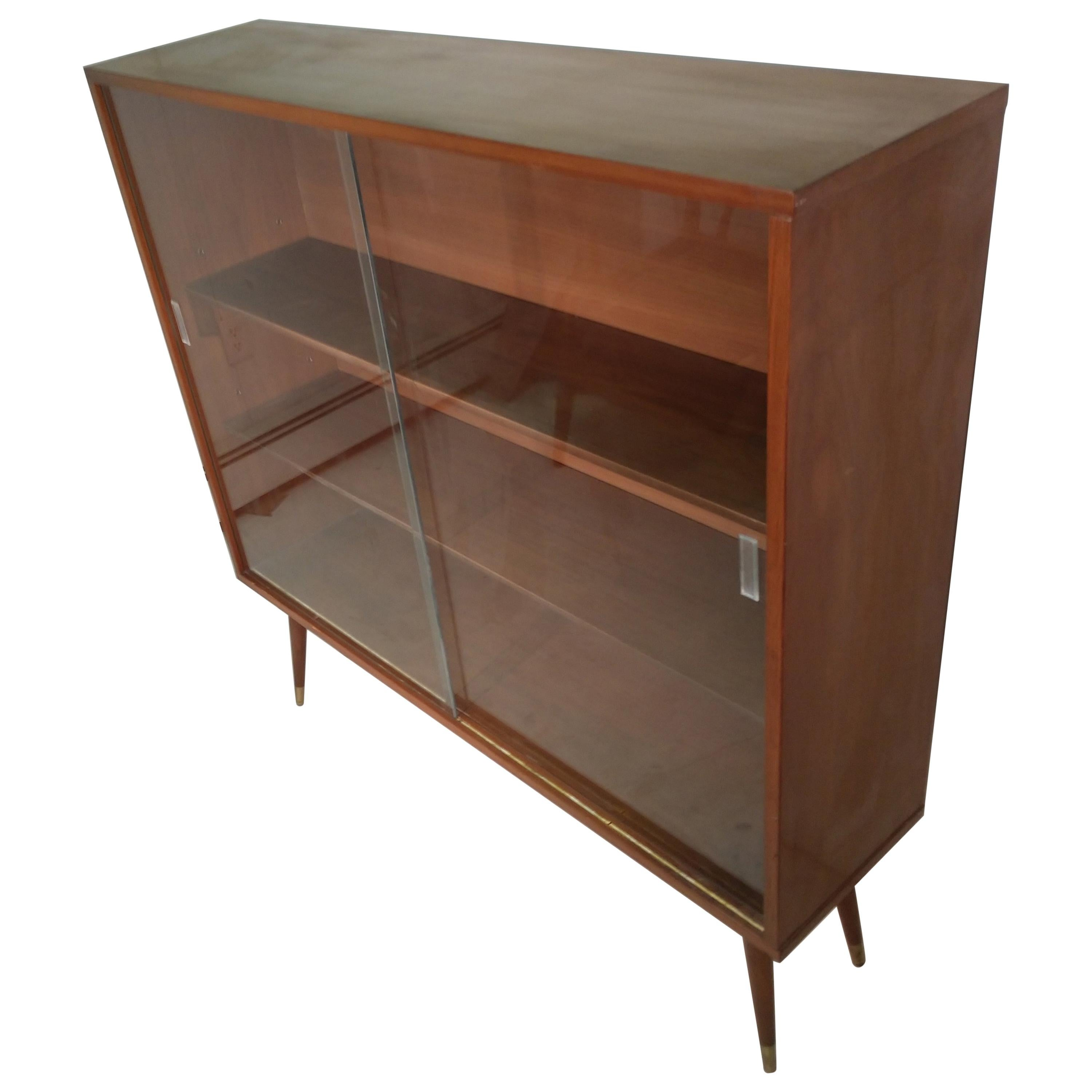 Mid Century Modern Two Door Walnut Bookcase For Sale At 1stdibs