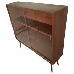 Mid-Century Modern Two-Door Walnut Bookcase