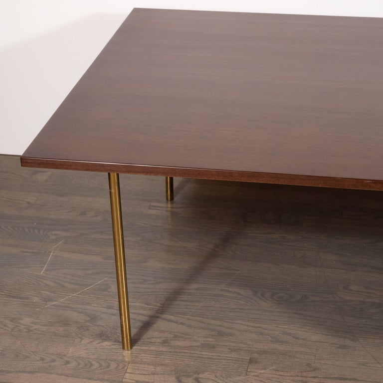 American Mid-Century Modern Two-Drawer Cocktail Table in Walnut and Brass, Harvey Probber For Sale