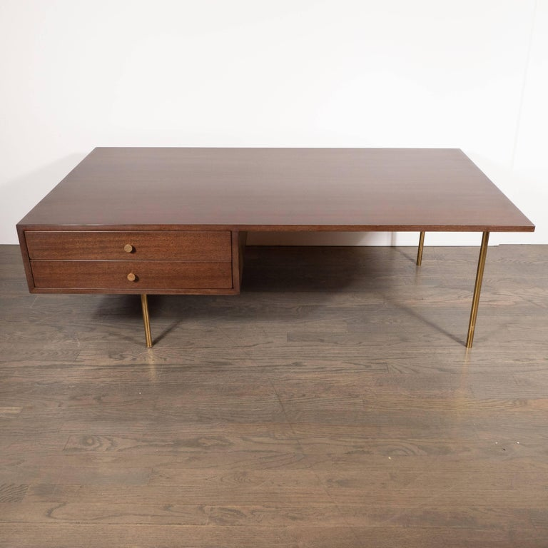 Mid-Century Modern Two-Drawer Cocktail Table in Walnut and Brass, Harvey Probber In Excellent Condition For Sale In New York, NY